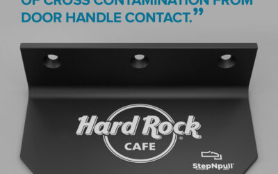 Hard Rock Café battle the spread of infection with StepNpull® 'The Foot Handle'.